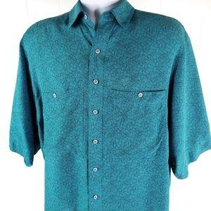Bonwit Teller Mens Silk Casual Button up Shirt Med